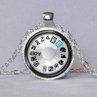 CAMERA DIAL PENDANT Photography Pendant Silver Black Teal Camera