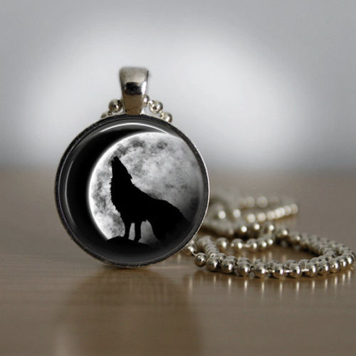 Glass Tile Necklace Wolf Necklace Silver Jewelry Silver Necklace Glass Tile